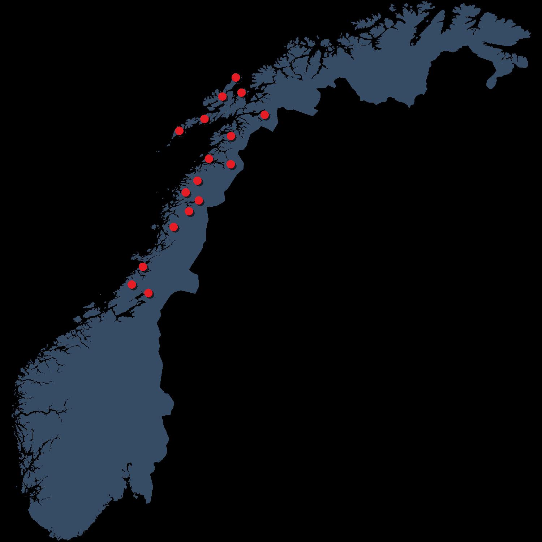 Kart over Nordvik sine avdelinger i Trøndelag, Nordland og Troms