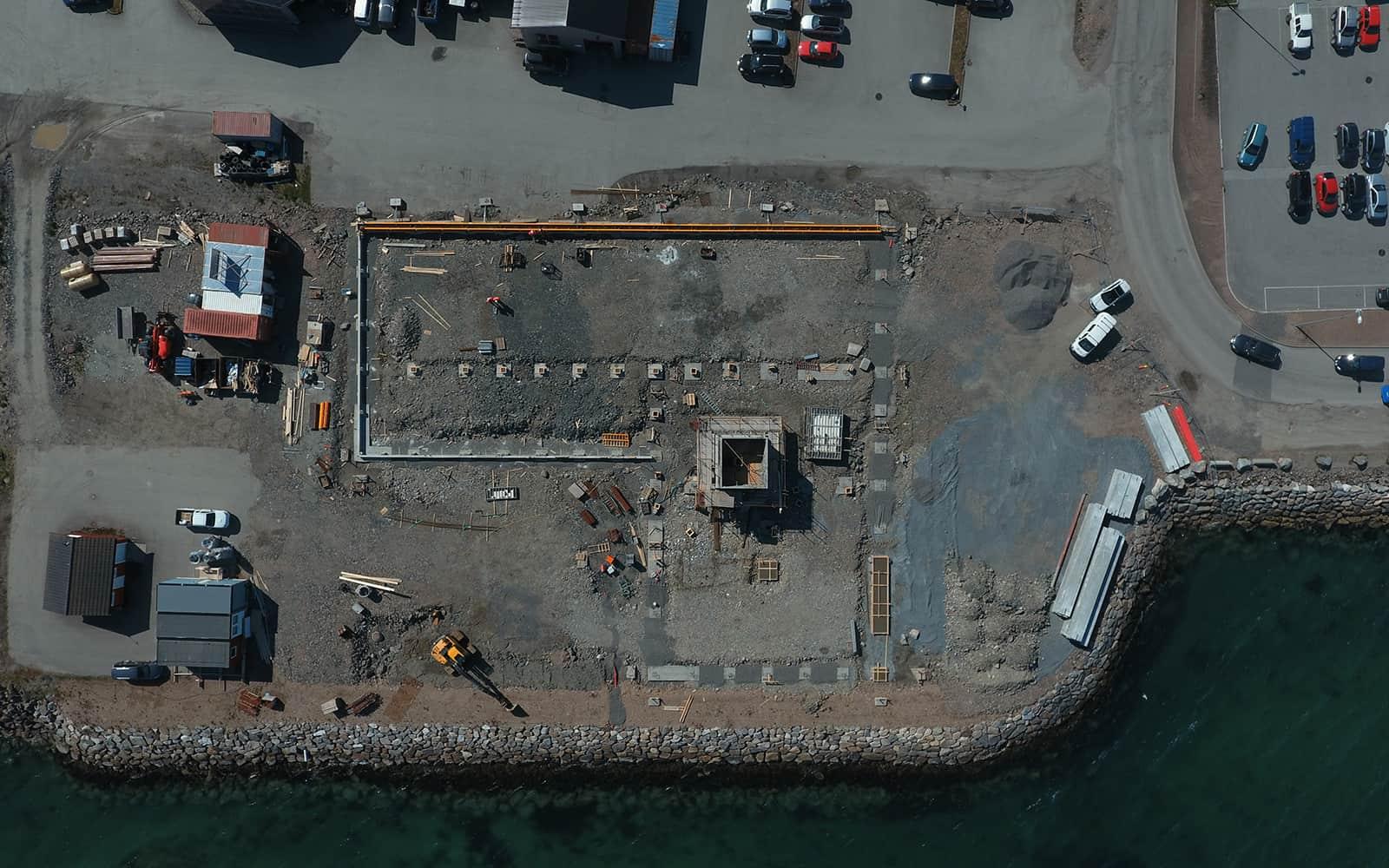 Dronebilde av byggeprosjektet til nye Nordvik Sortland