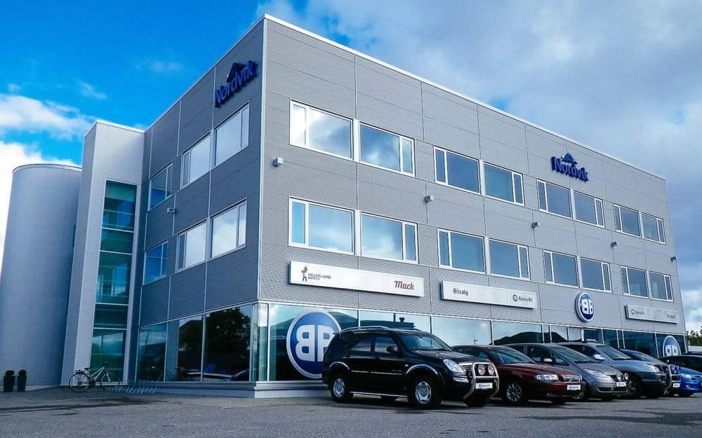 Fasade til administrasjonsbygget til Nordvik Gruppen i Bodø