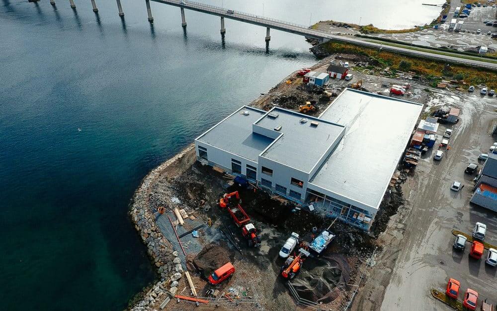 Dronebilde av byggeprosessen på Nordvik Sortland